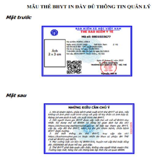 mẫu thẻ BHYT mới từ  01/04/2021