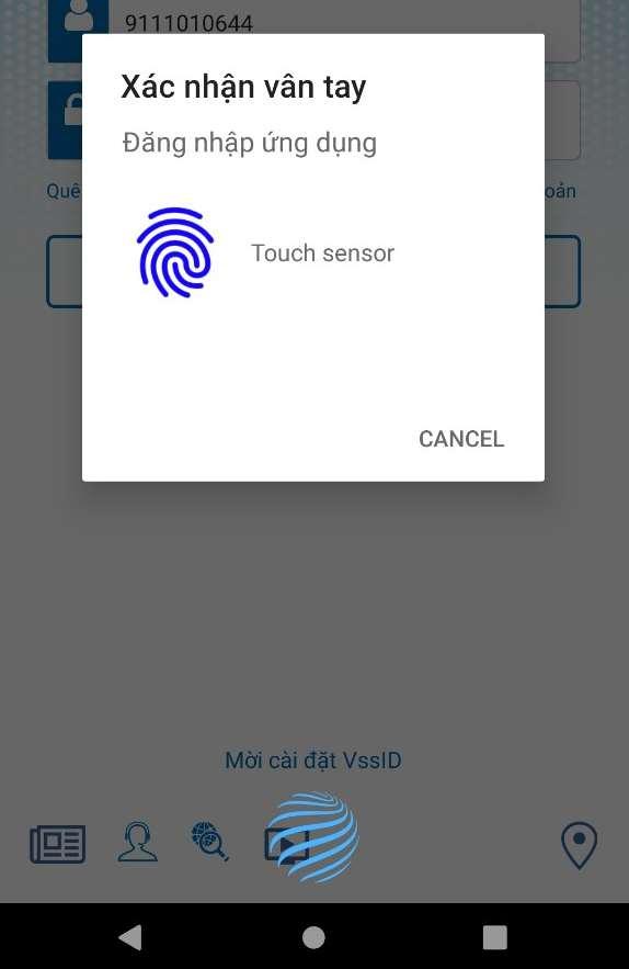 đăng nhập bằng dấu vân tay VssID