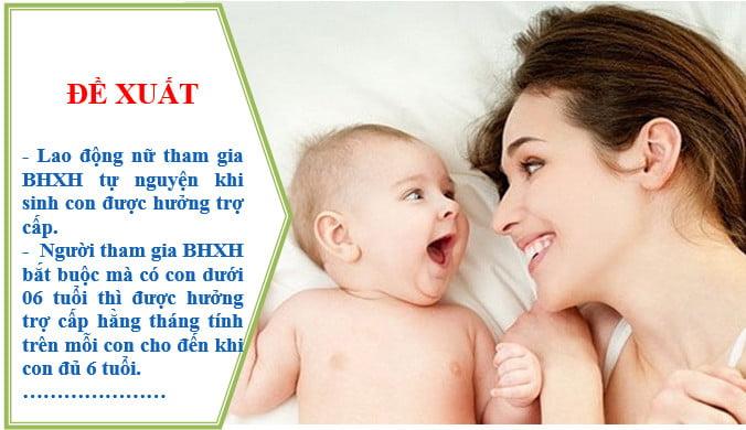Đề xuất: Nữ hưởng trợ cấp thai sản khi tham gia BHXH tự nguyện, trợ cấp cho con dưới 6 tuổi…